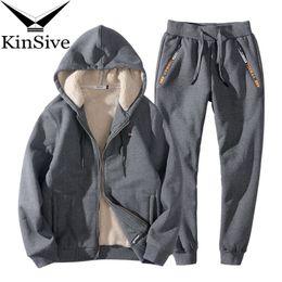 fb8524d0 Tracksuit Men Winter Fleece Hood Jacket+Pants Sweatshirts 2 Piece Set  Hoodies Warm Sporting Suit Brand Clothing Men Track