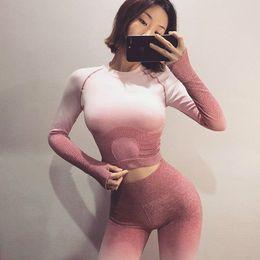 $enCountryForm.capitalKeyWord NZ - Seamless 2 Piece Set Women Sport Suit Gym Workout Clothes Long Sleeve Fitness Crop Top And Scrunch Butt Leggings Yoga Set