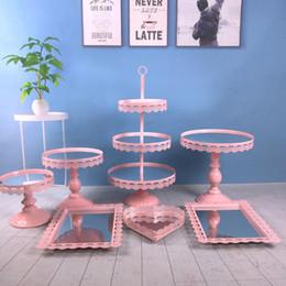 Design Cakes Cupcakes Australia - 7pcs  set new design hot sale wedding metal decoration with crystal Acrylic mirror cupcake cake stand