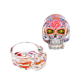 skull glasses NZ - Premium Handmade Sugar Skull Glass Ashtray Three Cigarette Ash Holder 62MM Cigarette Ashtray Smoking Day of The Dead Glass Cigar Ashtray