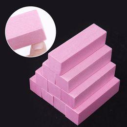 White Sanding Block Australia - 10Pcs set Pink White Sanding Sponge Nail Buffers Files Block Grinding Polishing Manicure Nail Art Tool