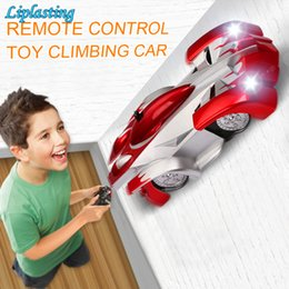 remote control cars children NZ - Remote Control Wall Climbing RC Car with LED Lights 360 Degree Rotating Stunt Toys Antigravity Machine Wall car for children Y200414