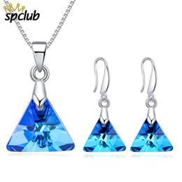 Genuine Swarovski Jewelry UK - Geometric Triangle Jewelry Genuine Crystals from Swarovski Wedding Jewelry Sets For Lover Brides Elegance Jewelry Party Gift
