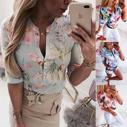 Short long women blouSe online shopping - Women Long Half Sleeve Loose Shirts Shirt Clothes Plain Casual Button Blouse Office Lady Summer Chiffon Shirts blusa feminina
