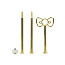 cake stands metal NZ - 3 Tier Bakeware Cake Plate Stand Handle Bowknot Shape Fitting Metal Wedding Party Golden Kitchen Accessory Cake Decorating Tool