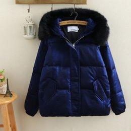 Wholesale china winter jackets for sale - Group buy 2019 Large Fur Collar Down Jacket Female Winter XL Plus sizes Loose Down Jacket Short Coat Gold velvet China Hot Sale Coat