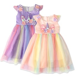 girls baby night dress UK - Cute Kids Unicorn Dress Girls Lace Sleeveless Dress Outdoor Cartoon Children Clothes Baby Party Princess Skirts TTA1080