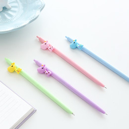 Stationery Australia - 36 pcs lot Cute giraffe Gel ink pens Black color 0.5mm roller ball pen Cartoon Stationery Office material school supplies