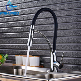 Polished Nickel Kitchen Faucets Australia - Chrome Nickel orb Gold Rubber Kitchen Faucet Mixer Tap 360 Degree Rotation Pull Down Stream Sprayer Taps