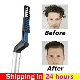 lace wig tools Australia - Men Quick Beard Straightener Styler Comb Multi-functional Hair Curling Curler Show Cap Tool Hair Curler Comb Brush Lace Front Wigs