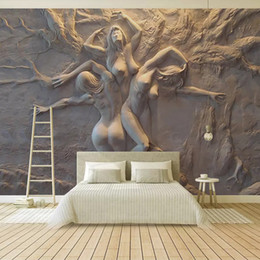 AbstrAct body pAinting wAll Art online shopping - Custom Wallpaper European D Stereoscopic Embossed Abstract Beauty Body Art Background Wall Painting Living Room Bedroom Mural