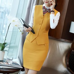 blue suit waistcoat NZ - New Style Formal Vest & Waistcoat Plus Size Ladies Suits Business with Skirt and Jacket Pant Sets Office Uniform Styles