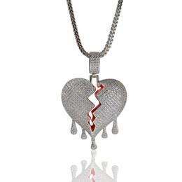 Broken Chain NZ - Fashion Broken Heart Pendant Necklaces Full Rhinestone Shining Boys Rock Rapper Necklace Tennis Chain Mens Hip Hop Jewelry For Gift Sale