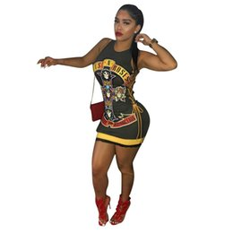 Vendita calda Punk Skull Stampa T Shirt Dress Women Vestido Vintage Bandage Hollow Out Girls T-Shirt Dress Breve Bodycon Abiti da festa 2019