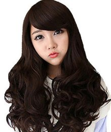 WIG Free Shipping Fashion COsplay Women Long Brown Curly Wavy Wig Costume Party Full Wig Synthetic