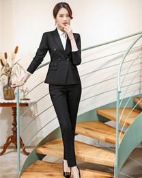 Office Style Suits Australia - High Quality Formal Ladies Pant Suits for Women Business Suits Black Blazer and Jacket Set Office Uniform Styles