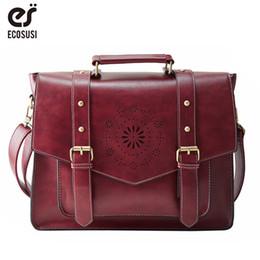 $enCountryForm.capitalKeyWord Australia - bag lady bags ECOSUSI New Women PU Leather Handbag High Quality Retro Women Messenger Bags Famous Designer Leather Briefcase Shoulder Bag
