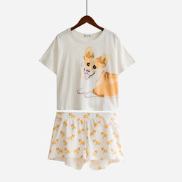 $enCountryForm.capitalKeyWord Australia - Dog Print Pajamas Women 2 Pieces Sets Corgi Cotton Crop Top Elastic Waist Shorts Nightwear Pijama Mujer S84601 B