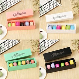 macaron boxes NZ - Macaron Box Cake Boxes Home Made Macaron Chocolate Boxes Biscuit Muffin Box Retail Paper Packaging 20.5*5.4*5.4cm Black Green EEA456