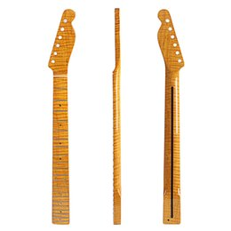 Tiger elecTric guiTar online shopping - 21 Fret Tiger Flame Maple Guitar Neck For TL Tele Electric Guitar Yellow Glossy