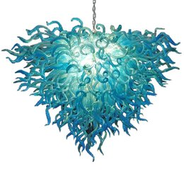 purple ceiling light fixture Australia - New Arrival Fancy Blue Art Glass Chandelier Ceiling Hand Blown Murano Glass LED Chandelier Light Fixtures for Living Room