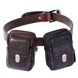 men leather waist hip bag UK - Men Leather Vintage Fanny Pack Waist Bag Travel Hiking Cell Mobile Phone Cover Case Hip Belt Bum Pouch Purse