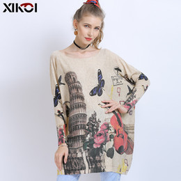 long warm dress jumpers Canada - Butterfly Print Jumper Knitted Sweaters Pullover Winter Fall Oversized Sweater For Women Warm Long Pullover Dresses Pull Femme
