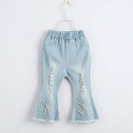5f4015f93 Wholesale Childrens Boutique Clothing Australia - New Fashion pearl Girls  Jeans hole Kids Jeans Girls Flared