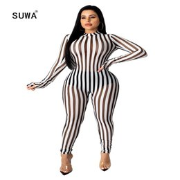 white jumpsuits sleeves for women NZ - Black White Striped Mesh See Through Patchwork Sexy Jumpsuits And Rompers For Women Long Sleeve Tight Autumn Party Club Overalls
