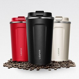 bottle lights UK - Mugs With Lid Milk Stainless Steel Vacuum Flask Insulated Thermal Water Bottle Cup Beer Thermocup Coffee Thermo Mug Q190430