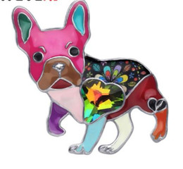 emerald clothing UK - 2020 Alloy Enamel Rhinestone French Bulldog Dog Brooches Clothes Pin Animal Pet Jewelry For Women Girls Gift Decoration