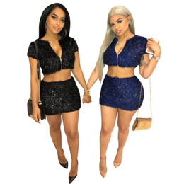 $enCountryForm.capitalKeyWord NZ - 2019 Latest Two Pieces Women Short Top and Skirt Zipper V Neck Short Sleeves Sexy Night Out Club Dress Sets Real Photos High Quality Fabric