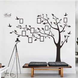 8957bc27fa Large Black 3D DIY Photos Frame Trees PVC Wall Decals Adhesive Family Wall  Stickers Mural Art Home Decor Living Room Decorations