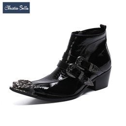 buckle zipper men UK - Christia Bella Men Zipper Ankle Boots Fashion Autumn Winter Real Leather Mid Heel Metal Pointed Toe Buckle Formal Boots