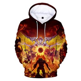 plus size clothing for sale Canada - 2019 Doom Eternal Hoodies 3D Print Casual Sweatshirts Hot Sale Harajuku Long Sleeve Clothes 2019 Hooded Tops Plus Size for men