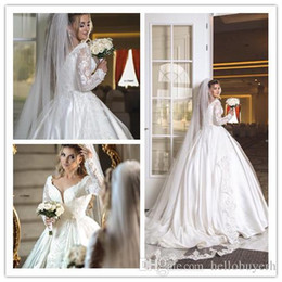 $enCountryForm.capitalKeyWord Australia - 2019 Lace Ball Gown Wedding Dresses Bridal Gowns Bling Long Train Wedding Gowns Princess Dubai Sale With Veil