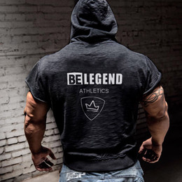 Discount men short hoodies - Be Legend Printed Mens Brand Designer Hooded Cardigan Vest Casual Gym Fitness Solid Color Hoodies Male Outdoor Short Sle