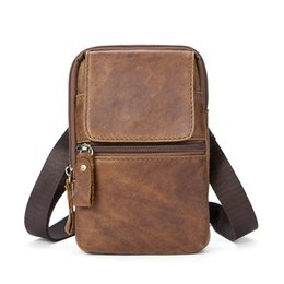 $enCountryForm.capitalKeyWord NZ - 100% Genuine Leather Vintage Waist Packs Men Travel Pack Belt Loops Hip Bag Waist Bag Mobile Phone Pouch