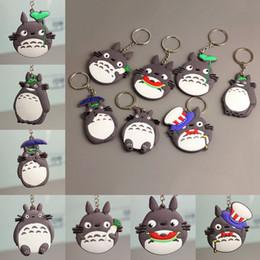 $enCountryForm.capitalKeyWord UK - Anime Comic Totoro Hayao Miyazaki Keychain Double Side Pvc Silicone Key Chian Japanese Anime Gray Totoro Toys Bag Keychain for Fans