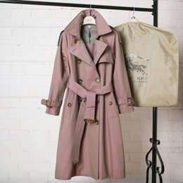 Double Shirt Designs Australia - Classic women long trench coat jacket color pink Double Breasted Coat Jackets Trench Coats Evening Wear Dresses Blouses Shirts T-shirts