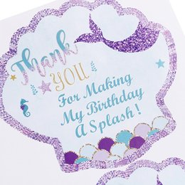 $enCountryForm.capitalKeyWord Australia - 40pcs pack Thank You Sea Shell Label Party Favors Mermaid Sticker Mermaid Party Birthday Party Decorations