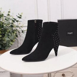 $enCountryForm.capitalKeyWord NZ - 2019 New Women Silhouette Luxury Ankle Boots Black Leather High Heels Designer velvet Boot Lady Fashion Dress Boots With Box korean style