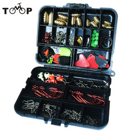 Wholesale Fishing Lures Box Australia - tackle box 20Kinds 128pcs Accessories Hooks Swivels Weight Fishing Sinker Stoppers Connectors Sequins Lures Fishing Tackle Box