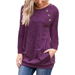 $enCountryForm.capitalKeyWord NZ - Women Long Sleeve Button T-Shirt Loose Trim Blouse solid color Round Neck Tunic Maternity Tops Tees Shirt AAA1672