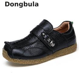 fbebf837e Zapatos de cuero genuino para niños Zapatos de vestir para niños Negro Boda  Oxford Escuela Niños Planos Casual Mocasines Goma