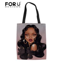 $enCountryForm.capitalKeyWord Australia - FORUDESIGNS Ladies Foldable Shopping Bags for Females Eco Shopper Bag Women Black Art African Girls Linen Bookbag Top-Handle Bag