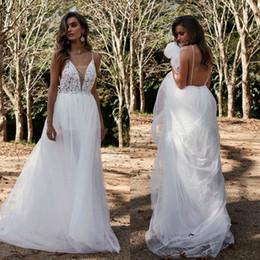 $enCountryForm.capitalKeyWord Australia - Bohemian Cheap Lace Wedding Dresses Spaghetti Neck Beads Sweep Train Bridal Gowns A Line Wedding Dress Robe de mariage