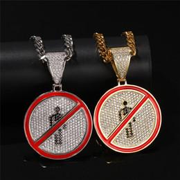 $enCountryForm.capitalKeyWord Australia - Hip Hop Spoof Version Prohibits Stop Sign Pendant Micro Paved Zircon Charm Mens Necklace Halloween Gift Idea