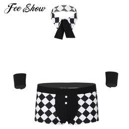 underwear play NZ - Novelty Men Maids Butler Plaid Cosplay Costume Lingerie Outfit Sexy Role Play Clubwear Boxer Underwear with Collar and Handcuffs