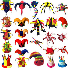$enCountryForm.capitalKeyWord NZ - Clown Hat Clown Party Hats Caps Halloween Adults Cosplay Dress Up Carnival Masquerade Party Supplies Football BeerParty Hats Novelty Christ